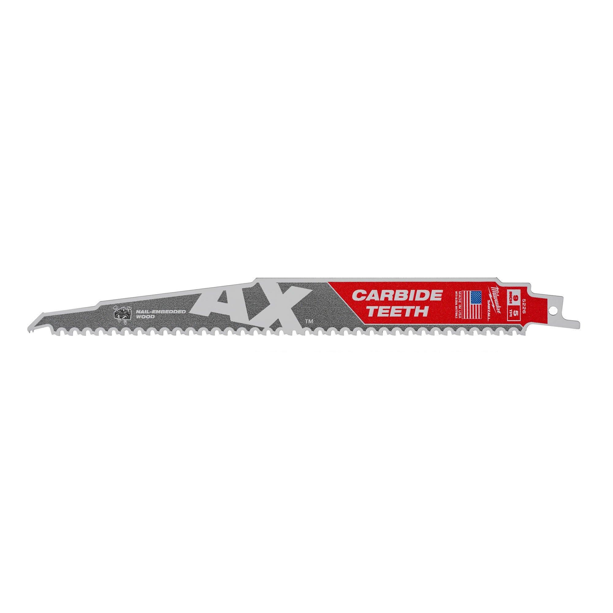Milwaukee 48005713 230mm Heavy Duty Sawzall Demolition Blade 10 TPI THE TORCH x5