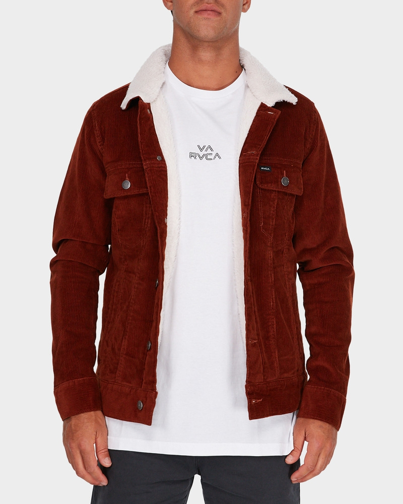 5091dbf96 Details about RVCA Daggers Cord Sherpa Jacket Mens in Rust