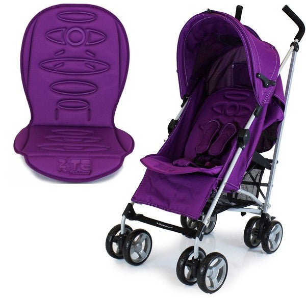 Buggy Stroller Pushchair With Large Sun Canopy Hood Plum Dots With Rain Cover Zeta Vooom