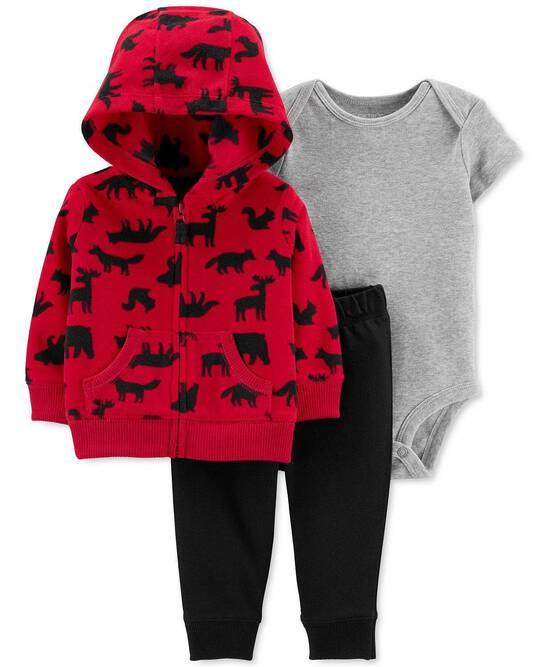 Printed Bodysuit /& Pants Set Striped Fleece Hoodie Carter/'s Baby Boys 3-Pc