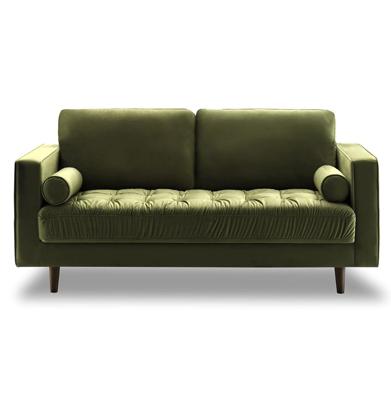 Prime Details About Bente Tufted Velvet Loveseat 2 Seater Sofa Green Modern Mid Century Scandinavi Dailytribune Chair Design For Home Dailytribuneorg