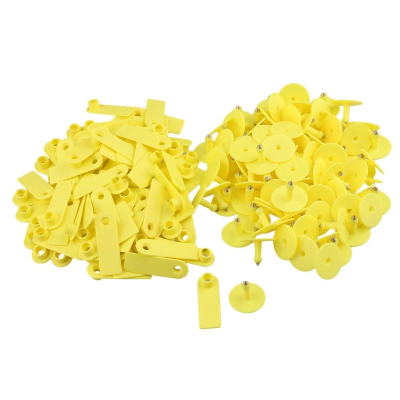 100x Small Number Livestock Ear Tag for Pig Cow Goat Sheep Yellow