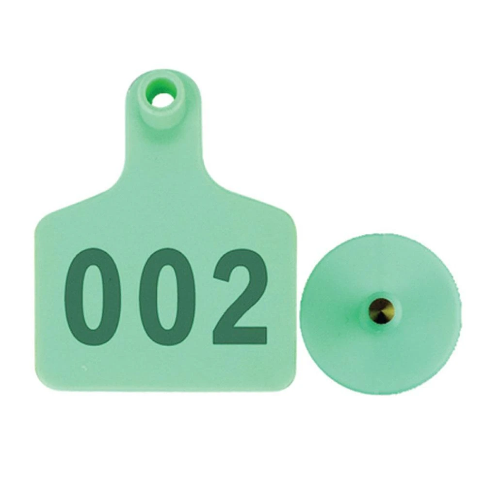 001-100 Cattle Number Ear Tags 5x4cm Green Cow Sheep Goat Small Livestock Labels