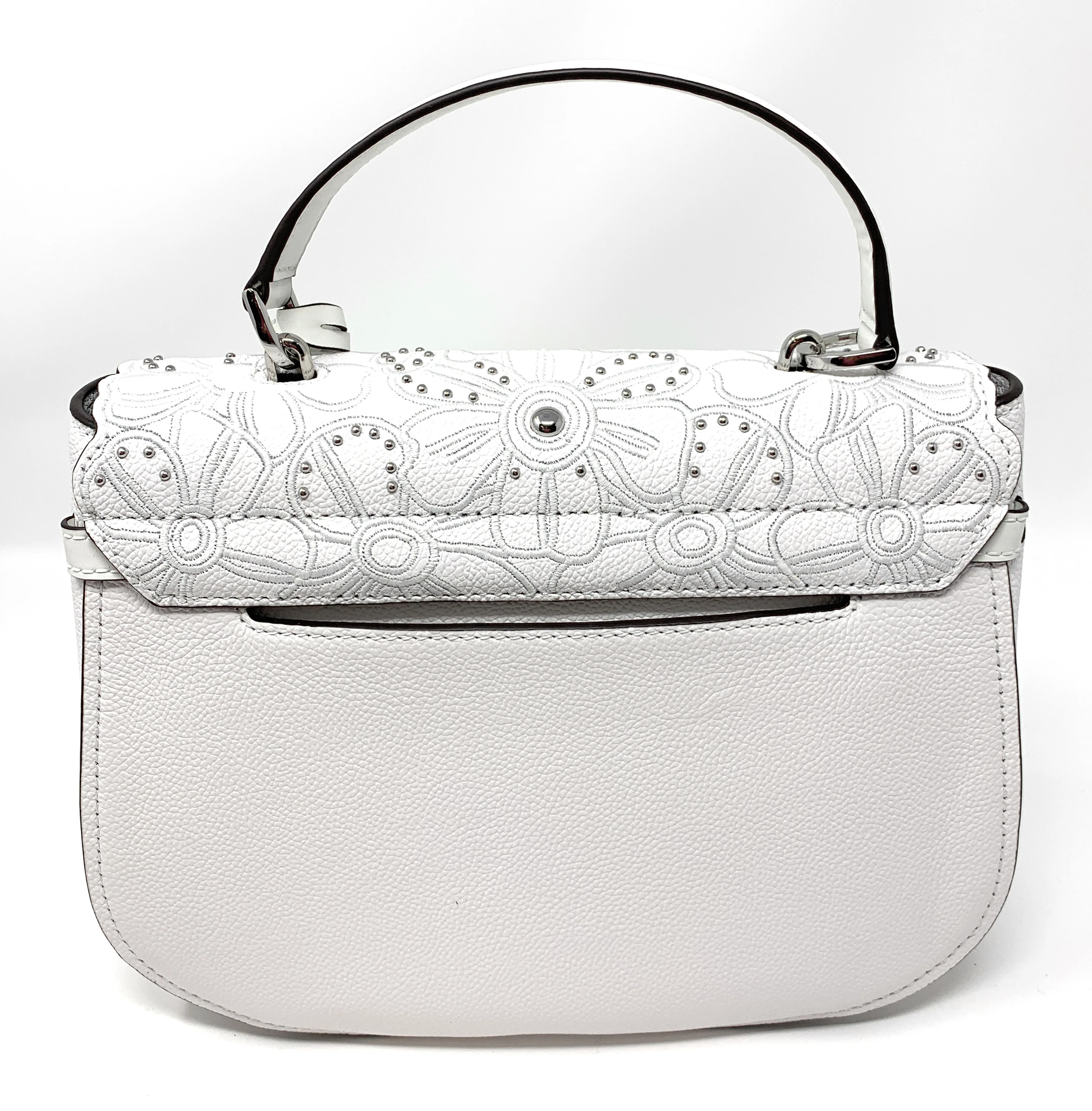 Details about Michael Kors Cassie Large Top Handle Leather Studded Satchel Bag Optic White