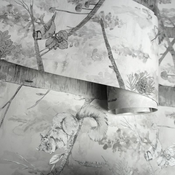 Brewster FD31052 Birch Tree Wallpaper Black//Silver
