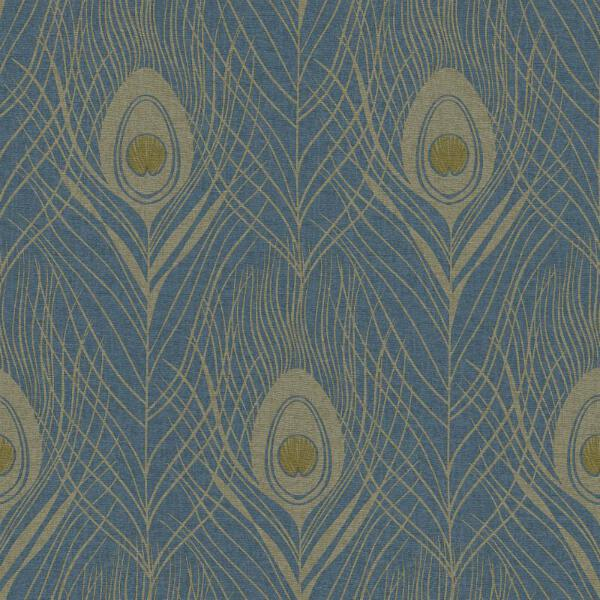 Blue And Gold Peacock Feather Wallpaper As Creations 36971 2 Ebay