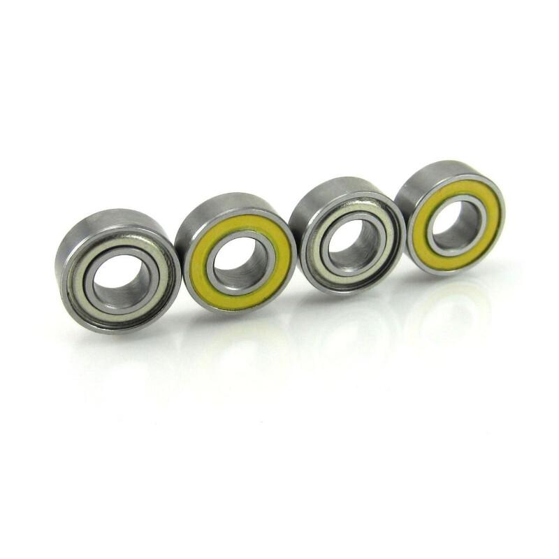 2 5x11x4mm Precision Hybrid Ceramic Ball Bearings Red Rubber Seals