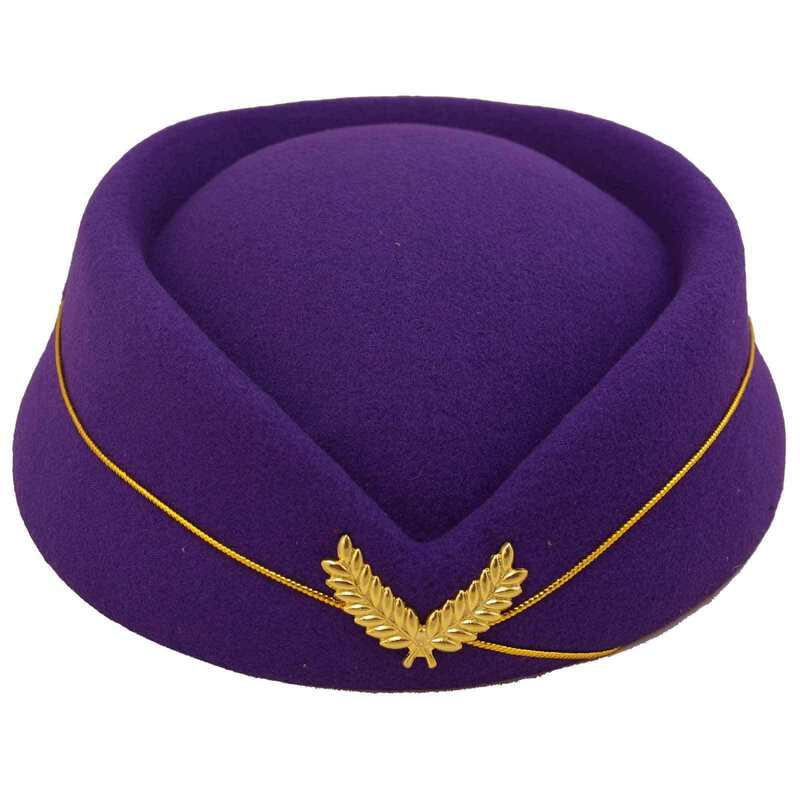 ca9872656 Details about Pillbox Air Hostess Hat Purple Gold Retro Vintage 50s 60s Pin  Up Races Wedding