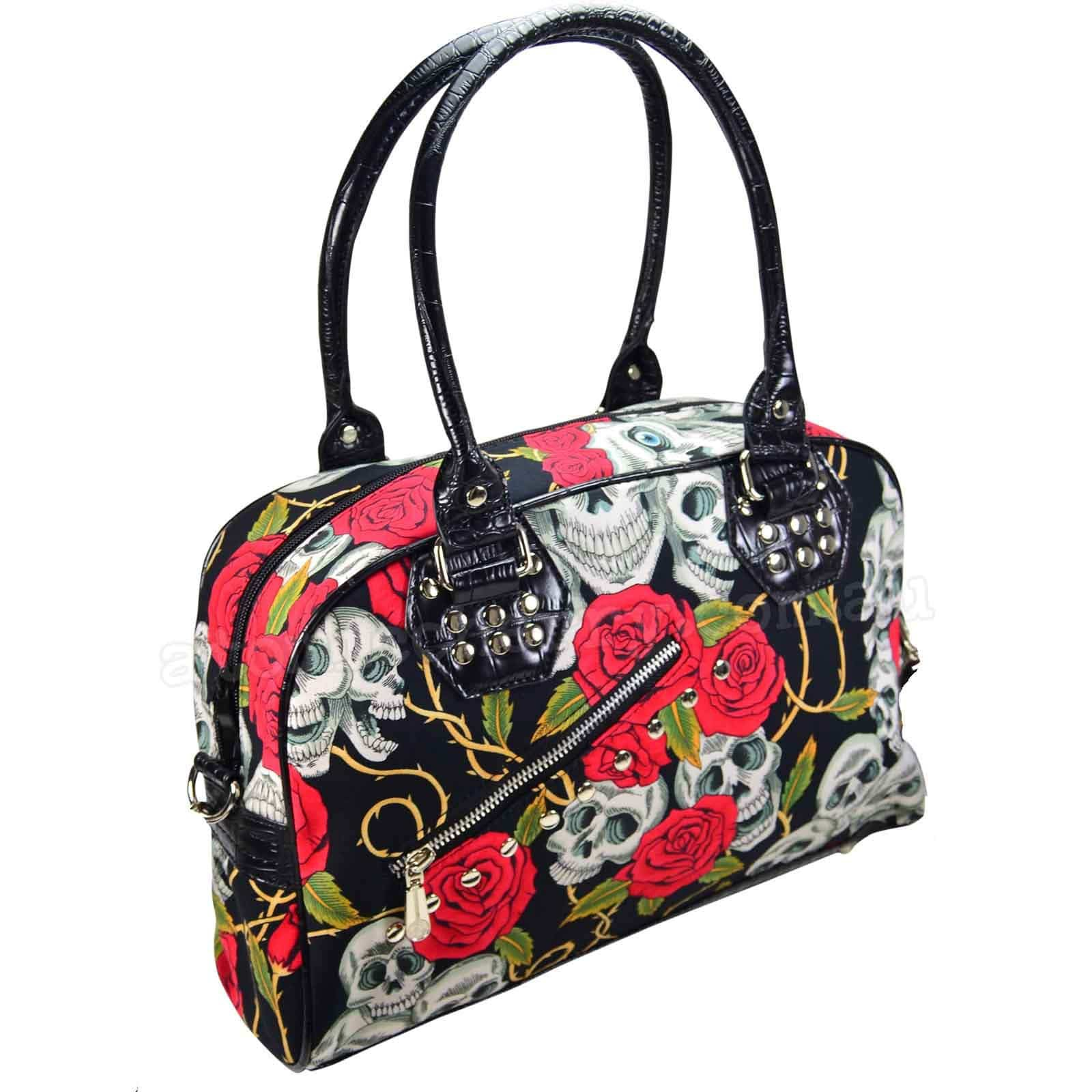 Banned Rockabilly Skulls /& Roses Handbag Pin Up 50/'s Alternative Style Handbag