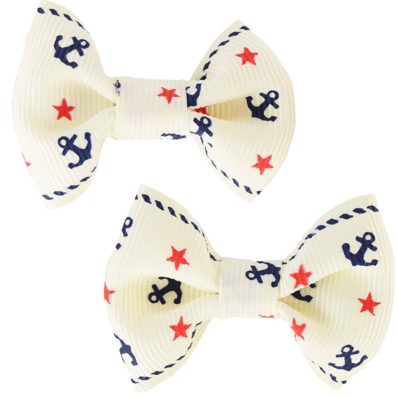 White Hair Clips Barrettes Rockabilly Pin Up Retro Girly Cute Set of Two