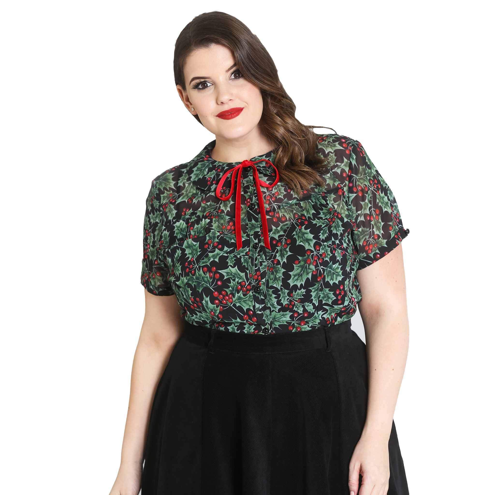 HELL BUNNY JENNIE XMAS red FLORAL holly 50s CHRISTMAS XMAS top BLOUSE XS-4XL
