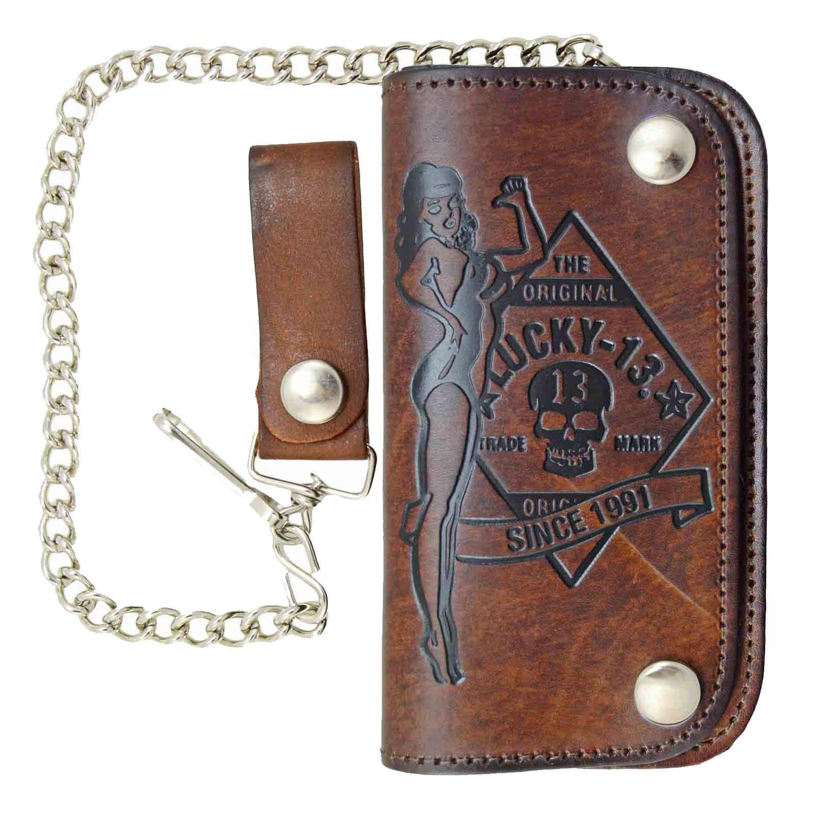 Lucky 13 Old Speed Leather Chain Wallet Kustom Kulture Rockabilly Tattoo Brown