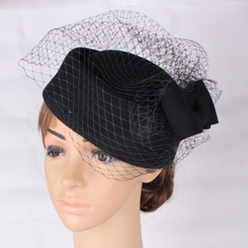 b1ed15eb Details about Pillbox Hat Black Retro Vintage Style 50s 60s Pin Up Races Fascinator  Wedding