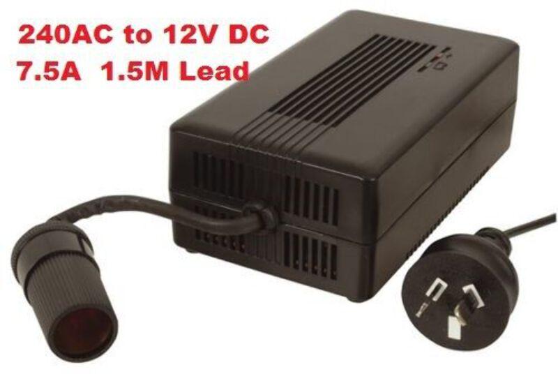 Details about 240V AC to 12V DC 7 5A Power Supply Adapter Cigarette Socket,  Waeco Engel Fridge