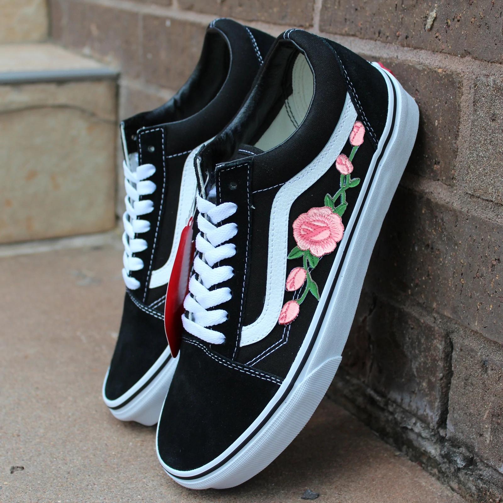 Vans Black Old Skool Pink Rose Custom