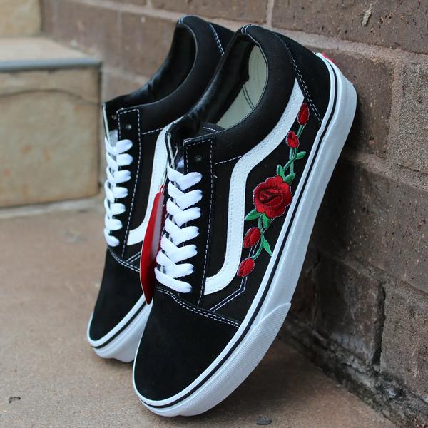 Vans Old Skool Negro Rojo Rosa Zapatos Personalizados Bordado | eBay