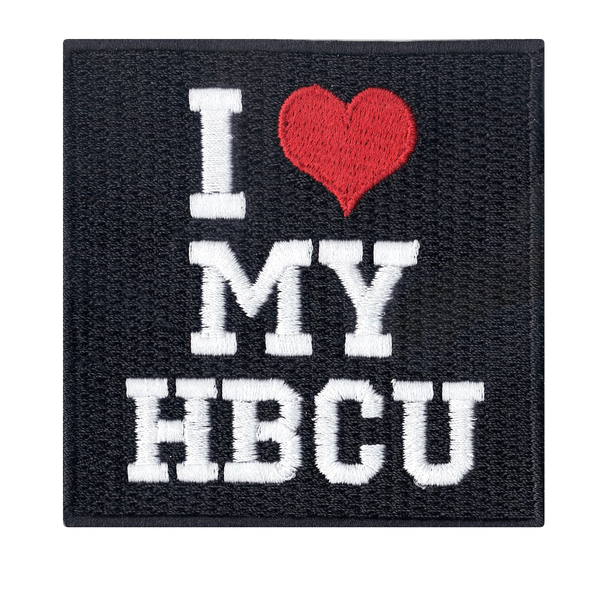 My HBCU Box Logo Iron On Embroidered Black Square Patch I Love Heart