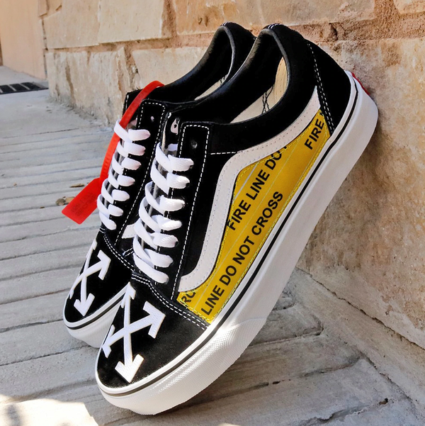 Details zu Vans Old Skool x OFF White Custom Handmade Shoes By Patch Collection