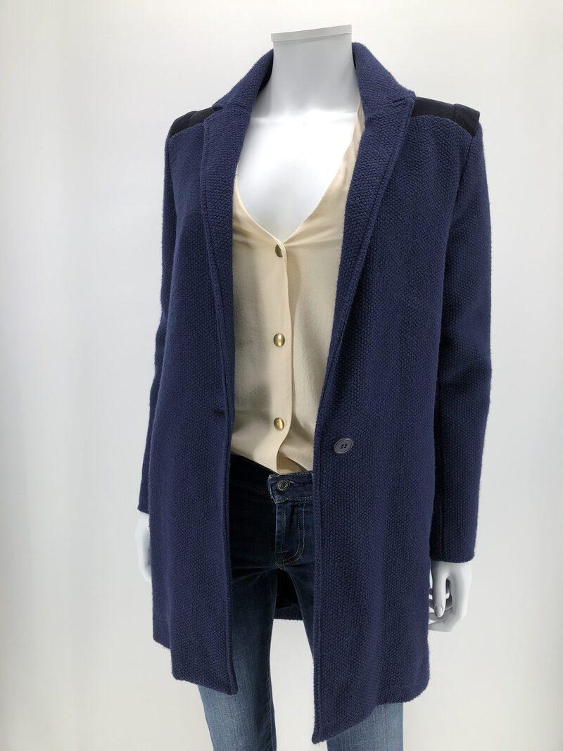 maje manteau oversize bleu marine empuexement cuir poche