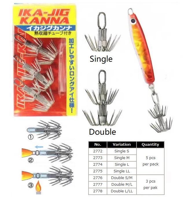 20pcs Stainless Steel Squid Jigs Hooks Sea Fishing Fishhooks DIY Hooks 4#