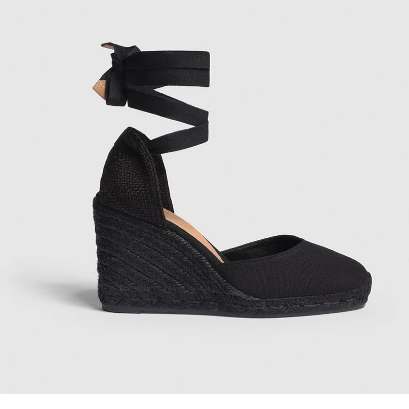 8f683e04a Castaner Carina 80 Black Canvas Black Sole Wedge Espadrilles | eBay