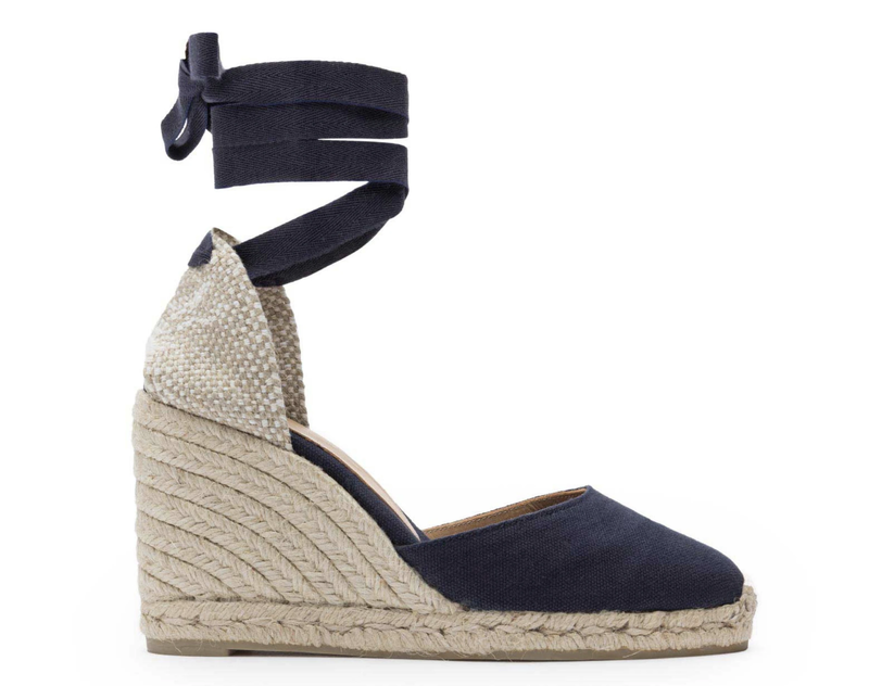 fa60a7e7ee6 Details about Castaner Carina 80 Navy Canvas Wedge Espadrilles