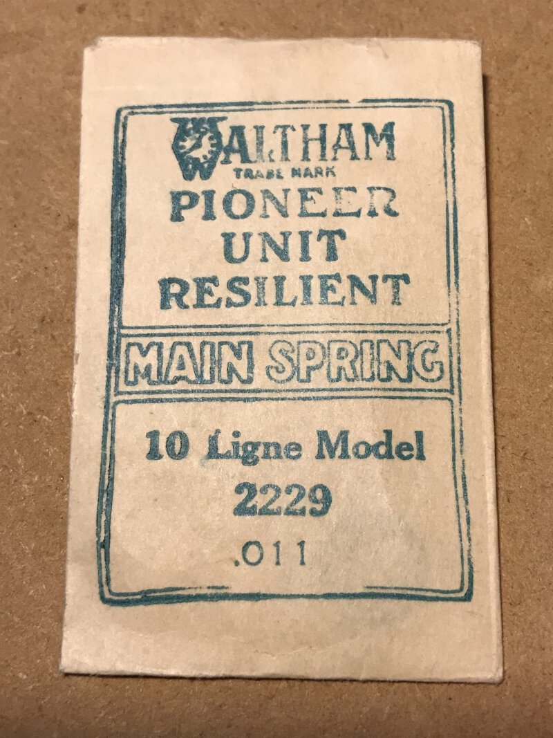 Waltham Factory Mainspring for 10 ligne Watches No. 2229 - Steel