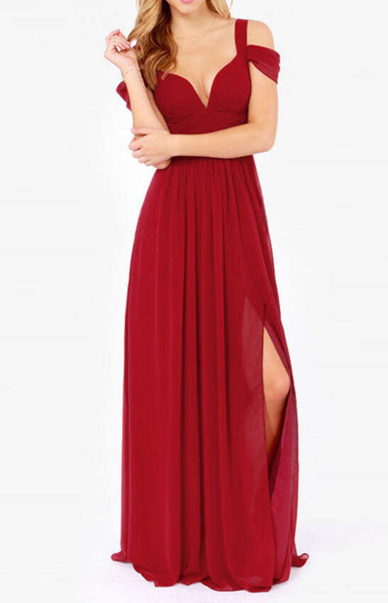 UK Red Maxi Dress bridesmaid dress wedding guest prom dress evening ...