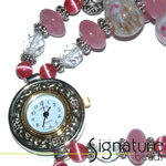 Beaded Watch Kit<br>Pink<br>with Silver Watch Face