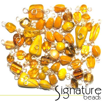 Silver Wire Wrapped Yellow Toned Glass Beads