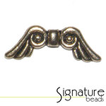 Cast Pewter Gold Toned Scrolled Angel Wings