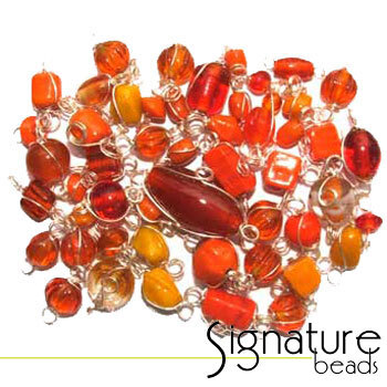 Silver Wire Wrapped Orange Toned Glass Beads