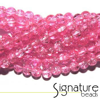 Pink 4mm Chinese Crackled Glass Beads