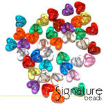 Transparent Hearts Acrylic Pony Beads