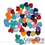 Opaque Hearts Acrylic Pony Beads