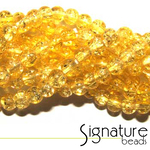 Yellow 4mm Chinese Crackled Glass Beads