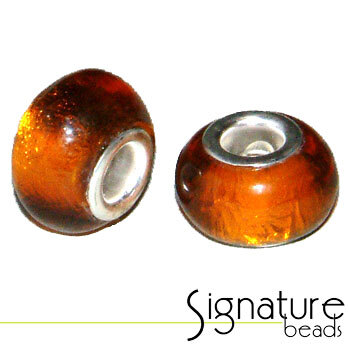 Topaz Pandora Style Bead with Silver Foil Core