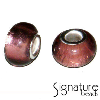 Amethyst Pandora Style Bead with Silver Foil Core