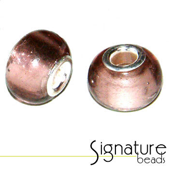 Dusty Pink Pandora Style Bead with Silver Foil Core