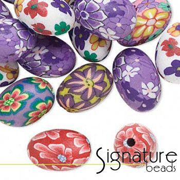 FIMO Polymer Clay Oval Beads in Various Designs