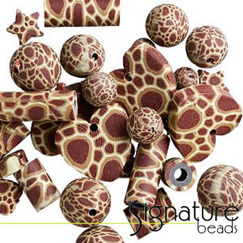 Brown FIMO Polymer Clay Beads in Assorted Shapes