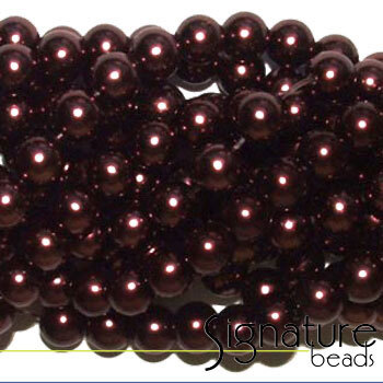 Burgundy 8mm Round Imitation Pearls