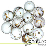 White 10mm Round Acrylic Beads with a Touch of Gold