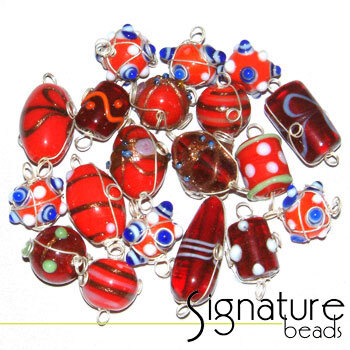 Silver Wire-Wrapped Fancy Red Glass Beads