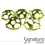 Peridot Sputnik Rondelles with White and Peridot Eyes<br>Packet of 5