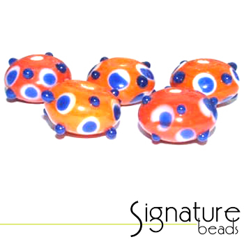 Orange Sputniks with Blue Spots<br>Packet of 5