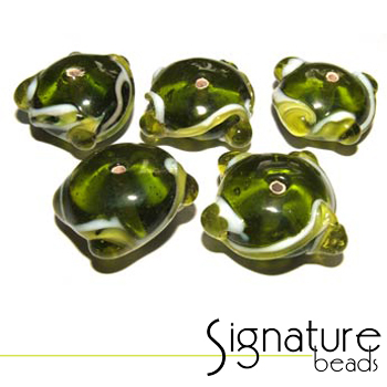 Peridot Rondelles with Peridot & White Wedding Cake Design<br>Packet of 5
