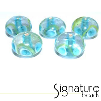 Clear Rondelles with a blue core, Blue and White Eye, and a lime green swirl<br>Packet of 5