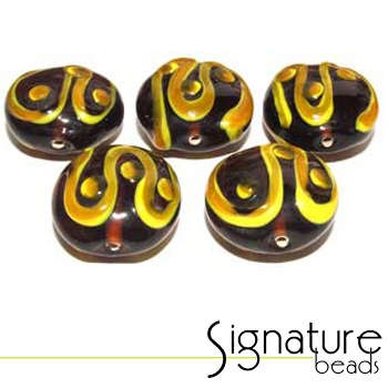 Topaz Coins with a Yellow/Topaz Swirl - Packet of 5