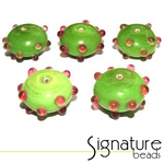 Lime Green Sputnik Rondelles with Raised Pink Spots - Packet of 5
